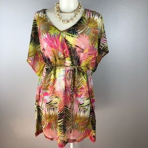 H&M Tropical Neon Floral Cover Up Dress Small